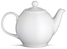 White China Tea Pot Teapot On A White Background