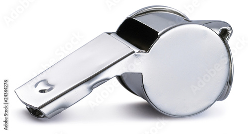 chrome silver referee pea whistle on a white background Wallpaper Mural