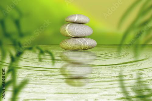 Doppelrollo mit Motiv - Zen Steine Spa Bambus Balance