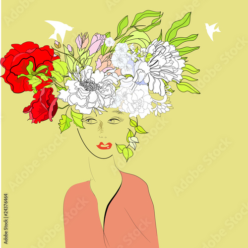 Recess Fitting Floral woman Beautiful girl with floral hair