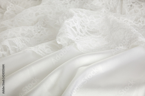 hintergrund hochzeitskleid aus spitze und seide Fototapete