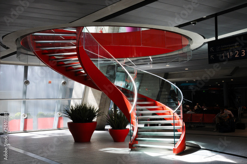 Foto op Canvas Trappen Red spiral staircase #1