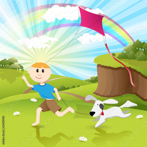 Foto auf Leinwand Hunde boy and dog