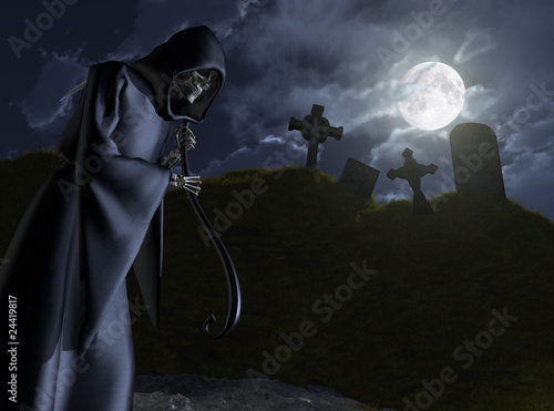 Photo  The Grim Reaper Stalks a Cemetery