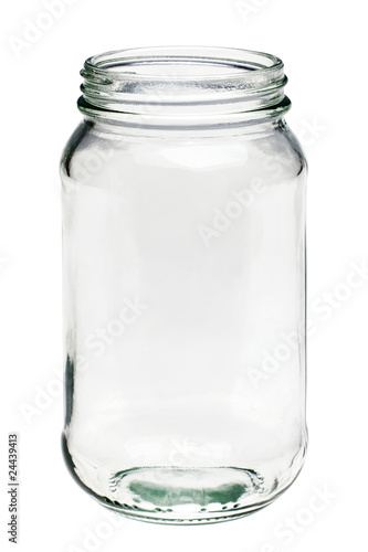 Fotografía  Empty glass jar isolated on a white background