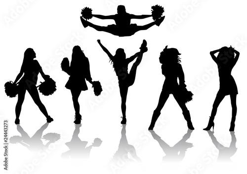 Fototapeta Set de siluetas de Cheerleaders