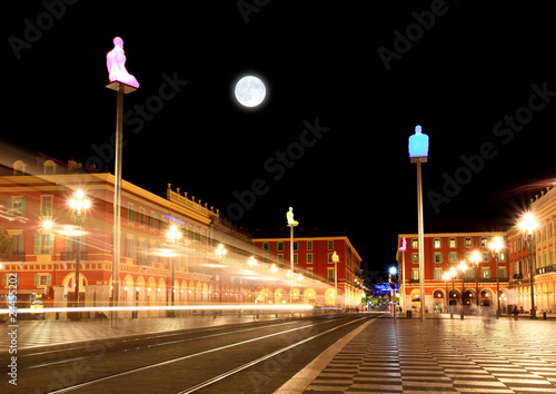 Photo Stands Full moon The Plaza Massena Square at night in Nice
