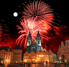 The Old Town Square In Prague City With A Firework