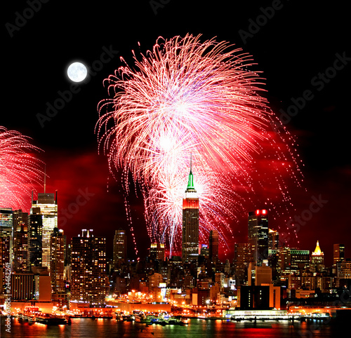 Photo Stands Full moon The New York City skyline and fireworks