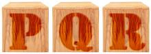 Wood Engraved Alphabet Blocks Q P R