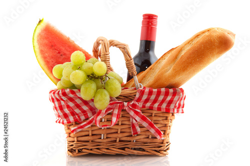 Ingelijste posters Picknick Picnic basket with food