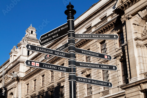 Photo  Sign with directions to London's landmarks