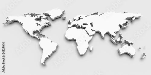 Staande foto Wereldkaart 3D World Map