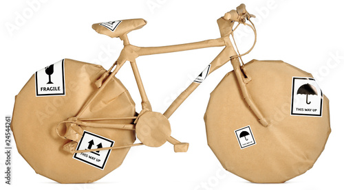 Cuadros en Lienzo bike,bicycle wrapped in brown paper