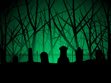 Graveyard And Trees Background