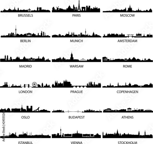vector european city skylines Poster