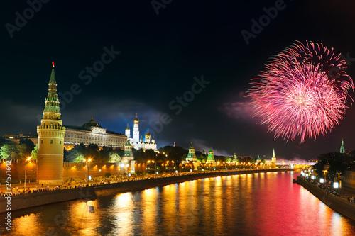 Fireworks over Moscow kremlin плакат