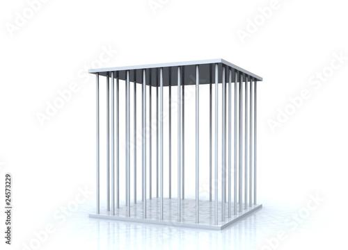 Fotografie, Obraz  3D - Gefängniszelle Silber - Freigestellt