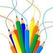 canvas print picture Mazzo di matite e linee