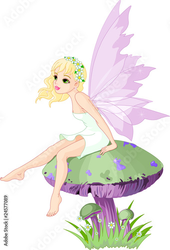 Deurstickers Magische wereld Fairy on the Mushroom