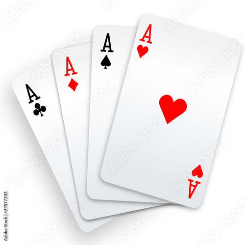Photo  Four aces playing cards poker winner hand