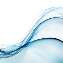 Blue Waves Isolated On White Background