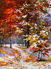 Panel Szklany Las Road to autumn wood