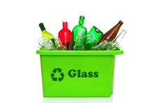 Green Glass Recycling Bin Isol...