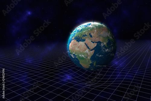 Kruemmung der Raumzeit durch die Masse des Planeten Erde Fototapeta