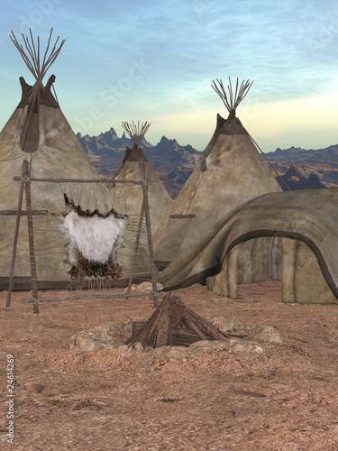 Poster Indiens Indianer Zeltdorf