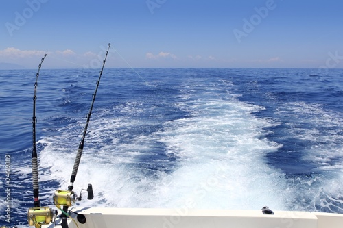 Poster Peche blue sea fishing sunny day trolling rod reels wake