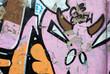 Pink graffiti wall