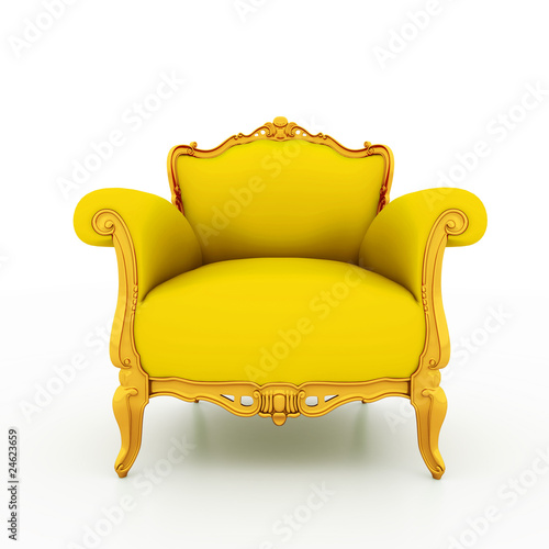 Fotografie, Obraz  Classic glossy yellow armchair with golden details
