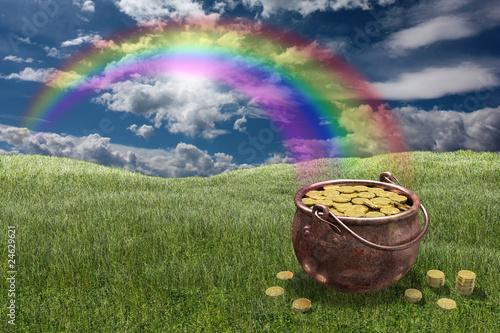 Photo Pentola piena di monete d'oro