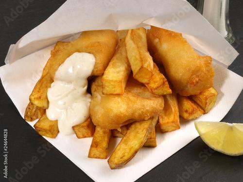 Deurstickers Klaar gerecht Fish and Chips