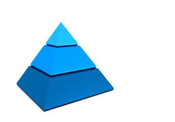 Business Pyramide in drei Teilen - Blau