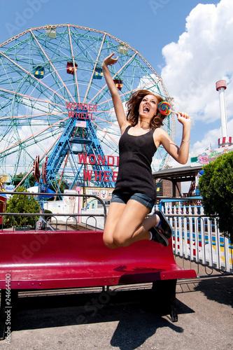 Amusement Park Girl having fun in amusement park