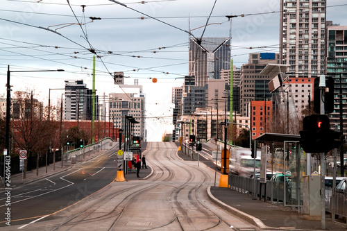 Tram tracks in Melboure city.