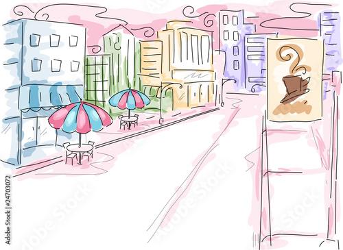 Foto auf AluDibond Gezeichnet Straßenkaffee Urban Scene