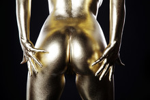 Gold Body, Frauen Körper Mit Goldfarbe Bemalt, Hintern, Quer