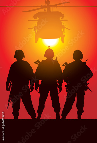 Spoed Foto op Canvas Militair Vector silhouette of tree soldiers with helicopter