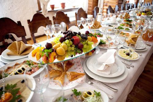Vászonkép fruits at banquet table