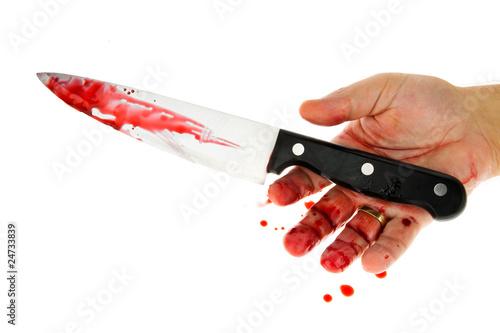 Fotografie, Obraz  Messer mit Blut. Kriminalität. Tatwaffe eines Mordes.