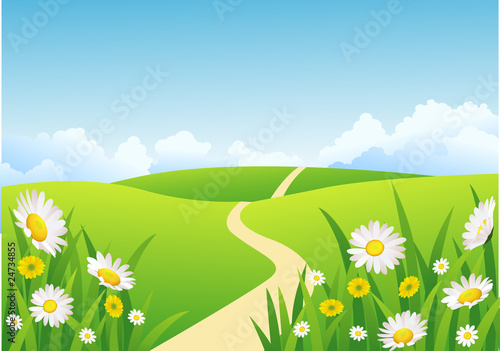 Deurstickers Lime groen Nature green field background