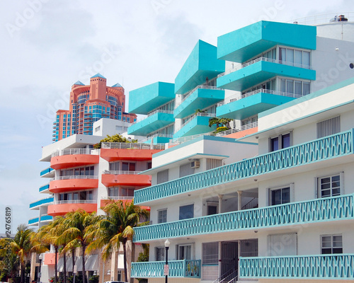 colorful houses in miami beach art deco district buy this stock