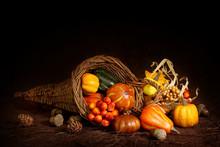 Cornucopia With Pumpkins On Br...