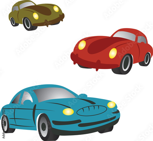 Poster Cars Set of icons with cartoon cars.