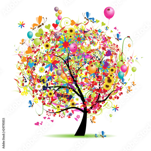 Happy holiday, funny tree with balloons Poster