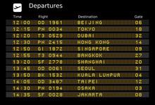 Airport Departure Board - Destinations In Asia