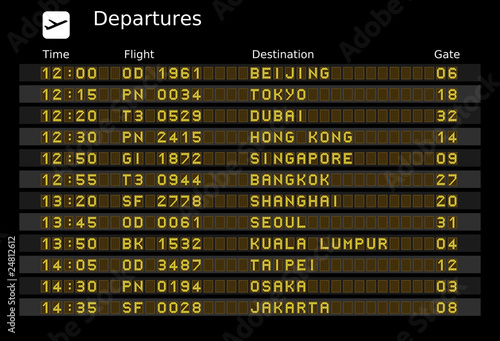 Airport departure board - destinations in Asia Canvas Print